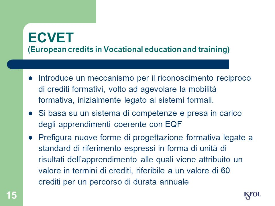 ECVET (European credits in Vocational education and training)