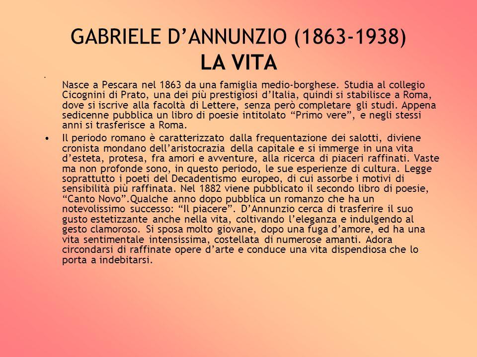 GABRIELE D'ANNUNZIO (1863-1938) LA VITA