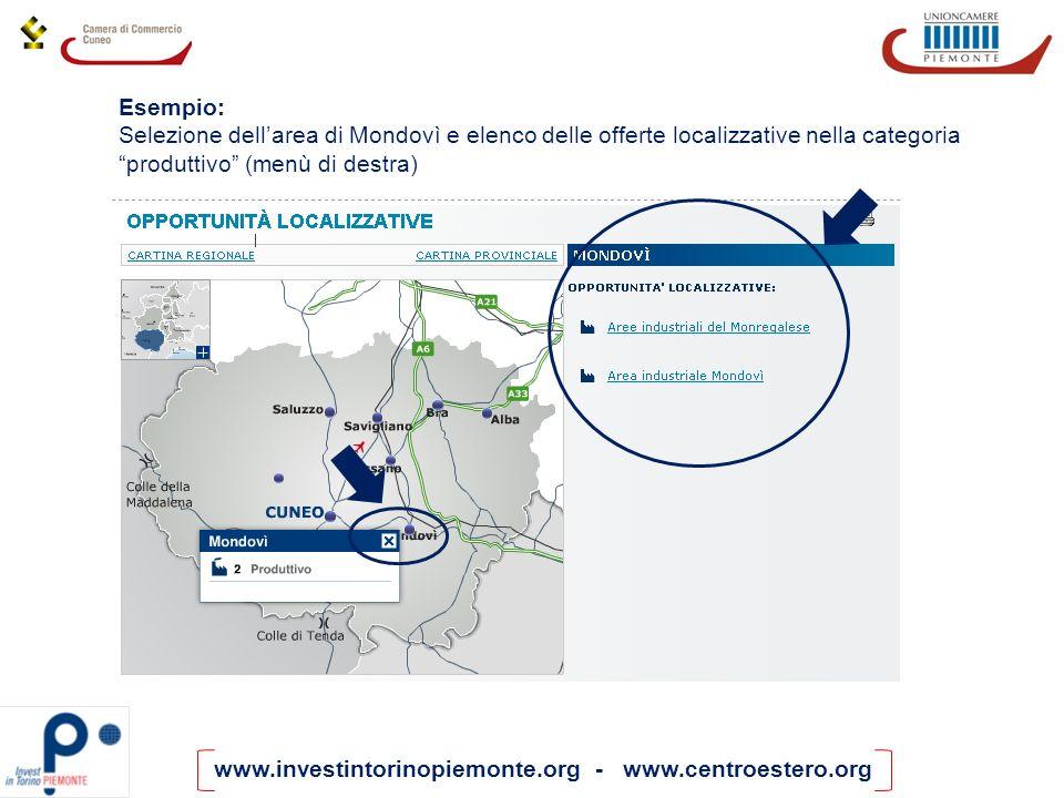 Esempio: Selezione dell'area di Mondovì e elenco delle offerte localizzative nella categoria produttivo (menù di destra)