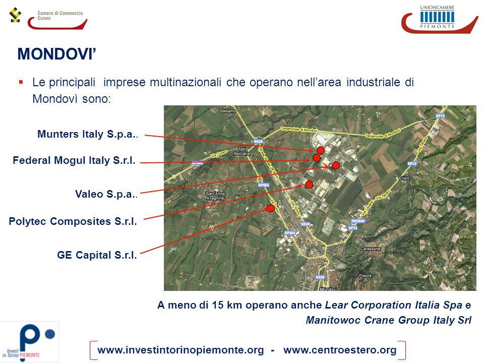 MONDOVI' Le principali imprese multinazionali che operano nell'area industriale di Mondovì sono: Federal Mogul Italy S.r.l.