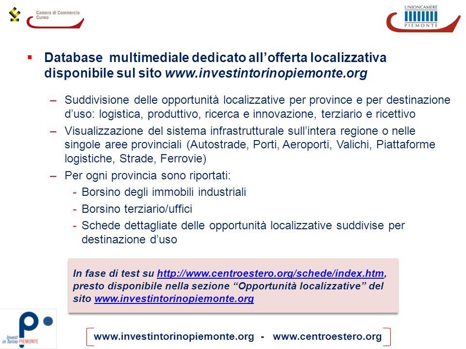 Database multimediale dedicato all'offerta localizzativa disponibile sul sito www.investintorinopiemonte.org