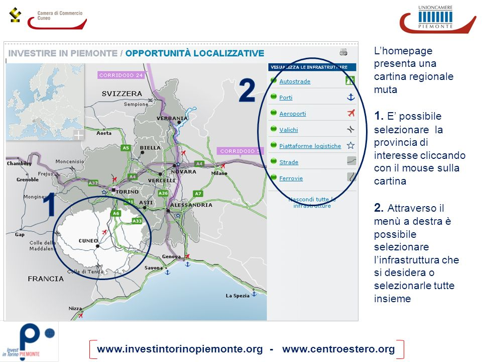 L'homepage presenta una cartina regionale muta
