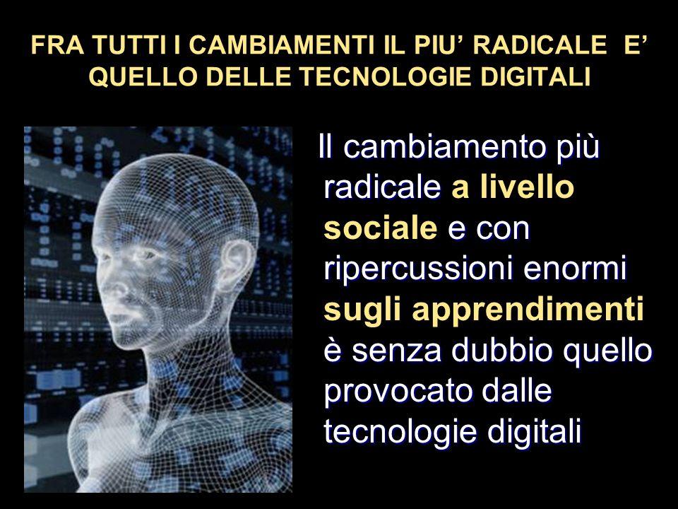 FRA TUTTI I CAMBIAMENTI IL PIU' RADICALE E' QUELLO DELLE TECNOLOGIE DIGITALI