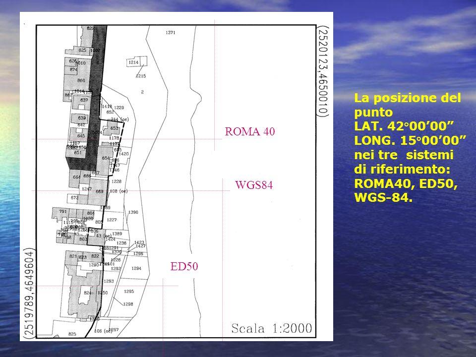 La posizione del punto LAT. 42°00'00 LONG