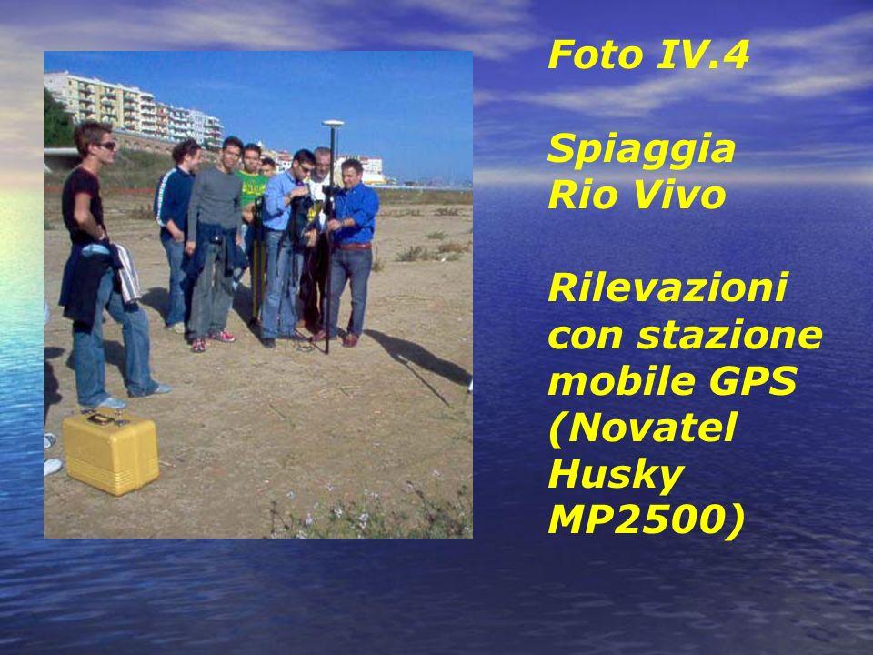 Foto IV.4 Spiaggia Rio Vivo Rilevazioni con stazione mobile GPS (Novatel Husky MP2500)