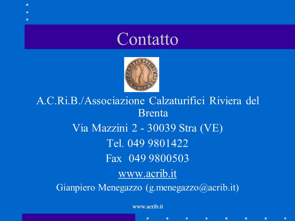 Contatto A.C.Ri.B./Associazione Calzaturifici Riviera del Brenta