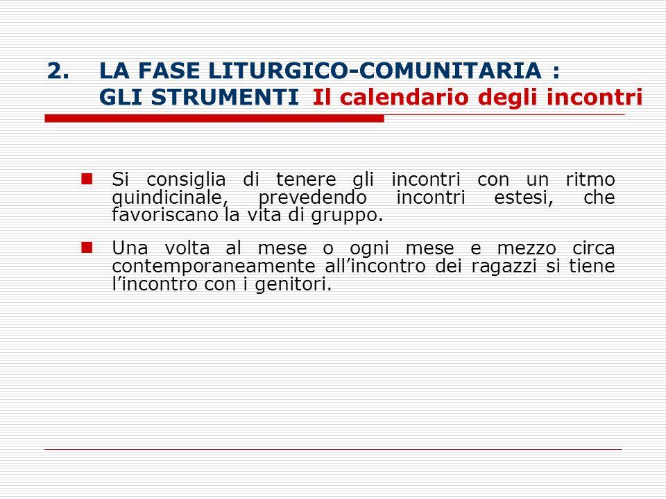 LA FASE LITURGICO-COMUNITARIA : GLI STRUMENTI