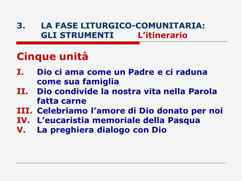 Cinque unità LA FASE LITURGICO-COMUNITARIA: GLI STRUMENTI L'itinerario