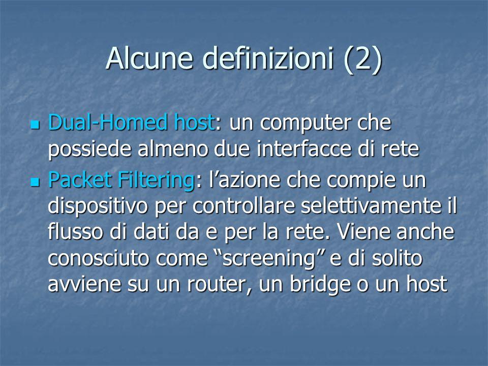 Alcune definizioni (2) Dual-Homed host: un computer che possiede almeno due interfacce di rete.