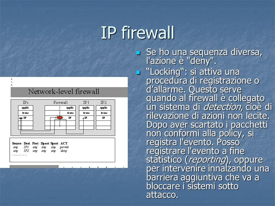 IP firewall Se ho una sequenza diversa, l azione è deny .