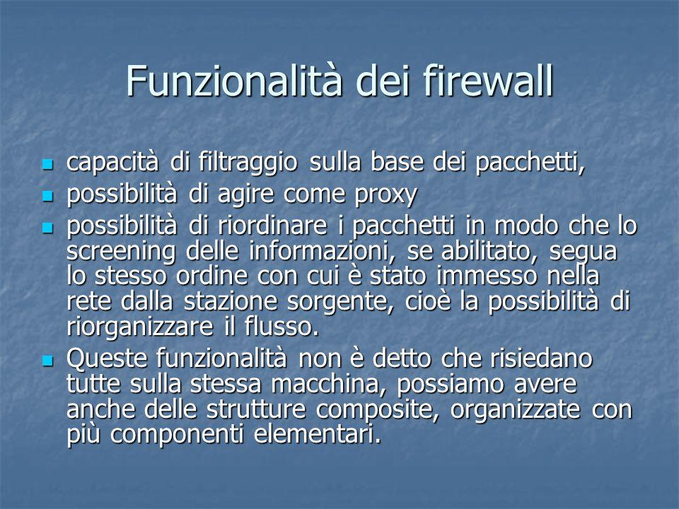 Funzionalità dei firewall