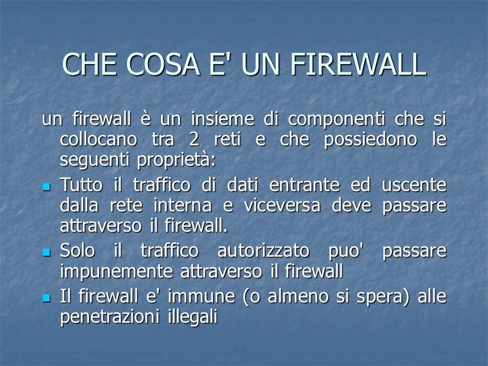 CHE COSA E UN FIREWALL un firewall è un insieme di componenti che si collocano tra 2 reti e che possiedono le seguenti proprietà: