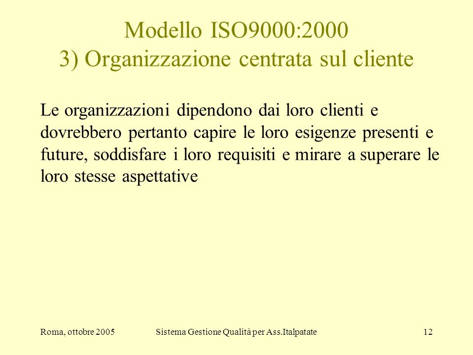Modello ISO9000:2000 3) Organizzazione centrata sul cliente