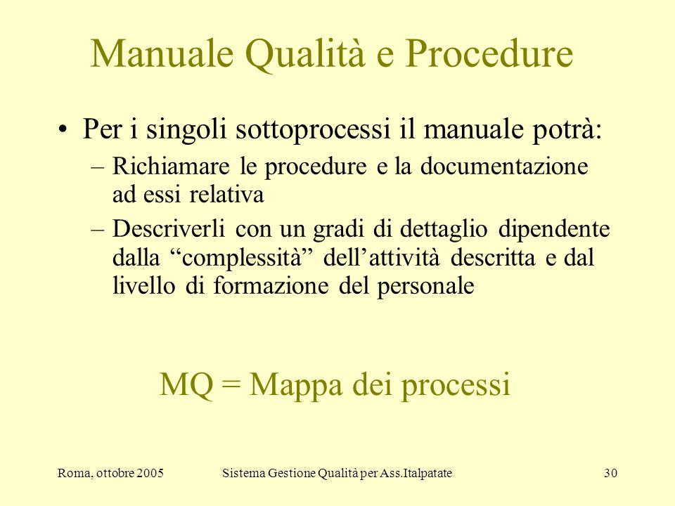 Manuale Qualità e Procedure