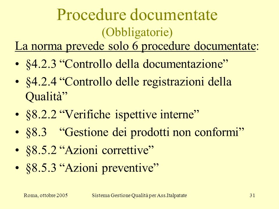 Procedure documentate (Obbligatorie)