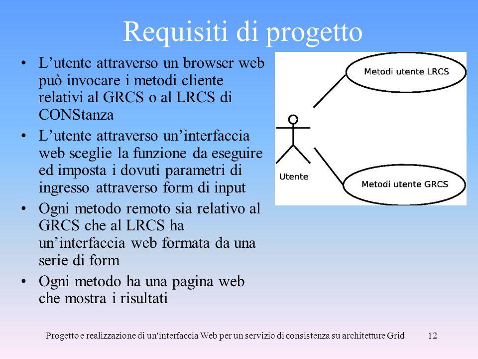 Requisiti di progetto L'utente attraverso un browser web può invocare i metodi cliente relativi al GRCS o al LRCS di CONStanza.