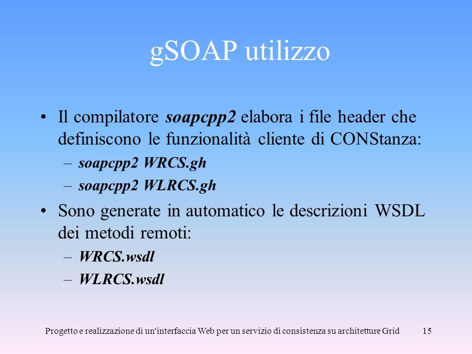 gSOAP utilizzo Il compilatore soapcpp2 elabora i file header che definiscono le funzionalità cliente di CONStanza:
