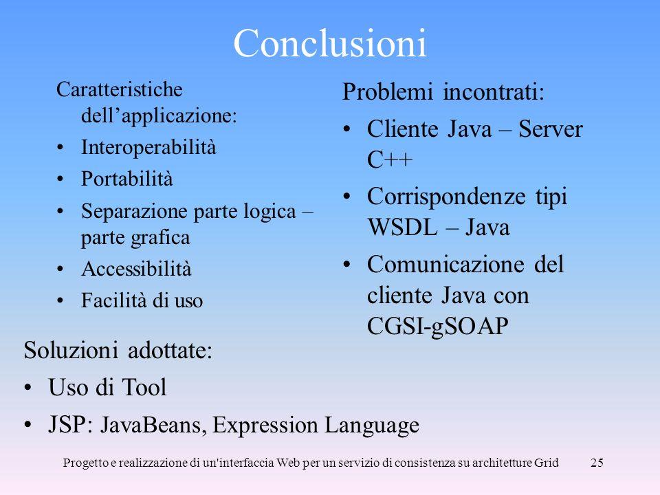 Conclusioni Problemi incontrati: Cliente Java – Server C++