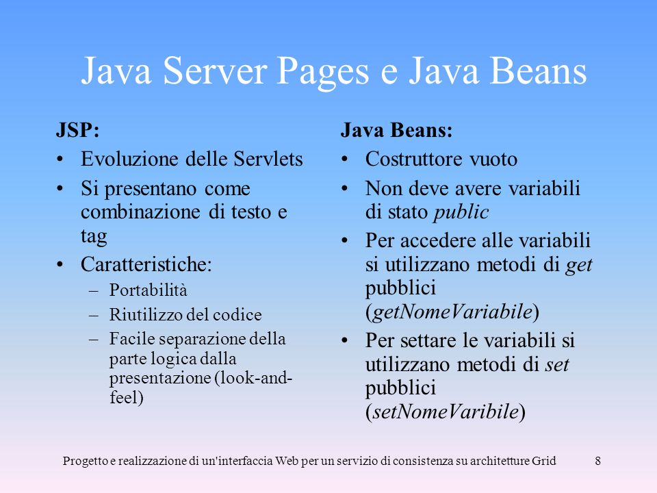 Java Server Pages e Java Beans