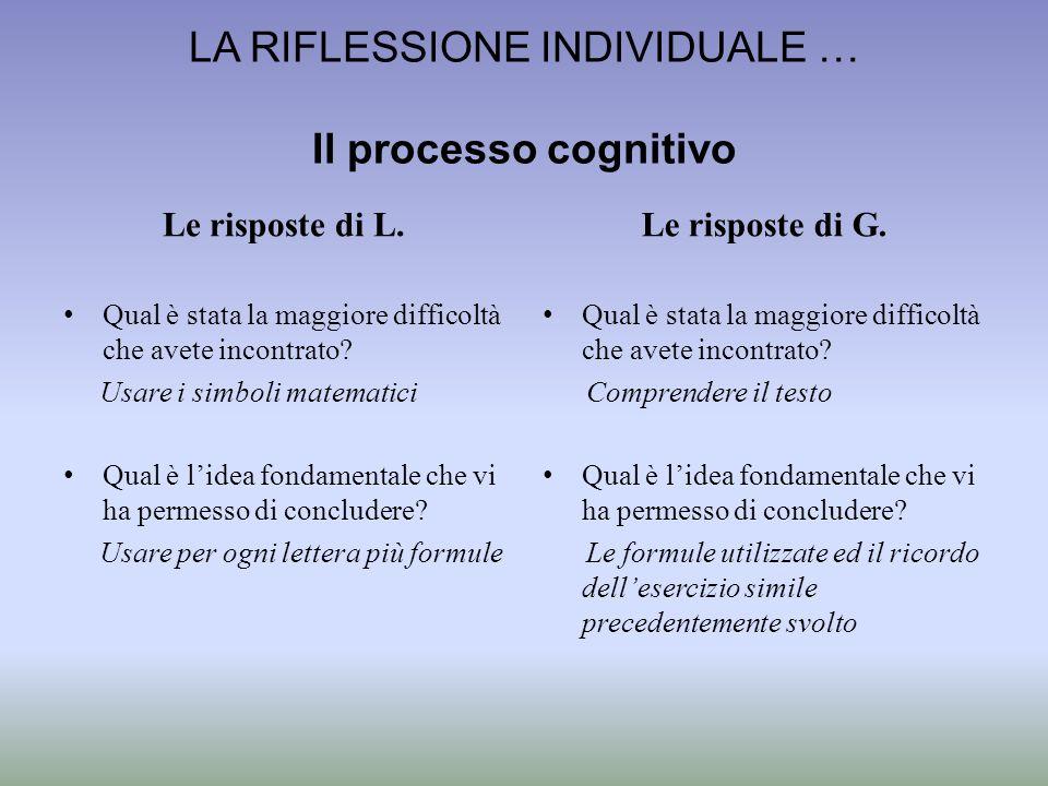 La riflessione individuale … Il processo cognitivo