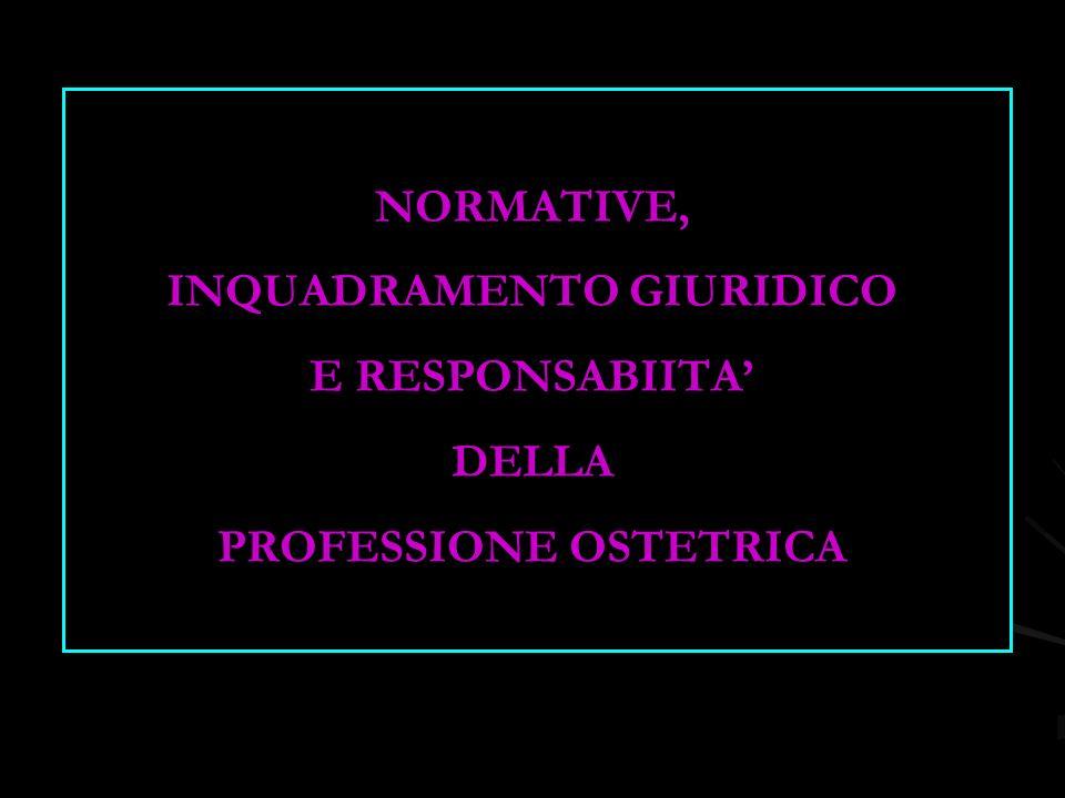 NORMATIVE, INQUADRAMENTO GIURIDICO E RESPONSABIITA' DELLA PROFESSIONE OSTETRICA