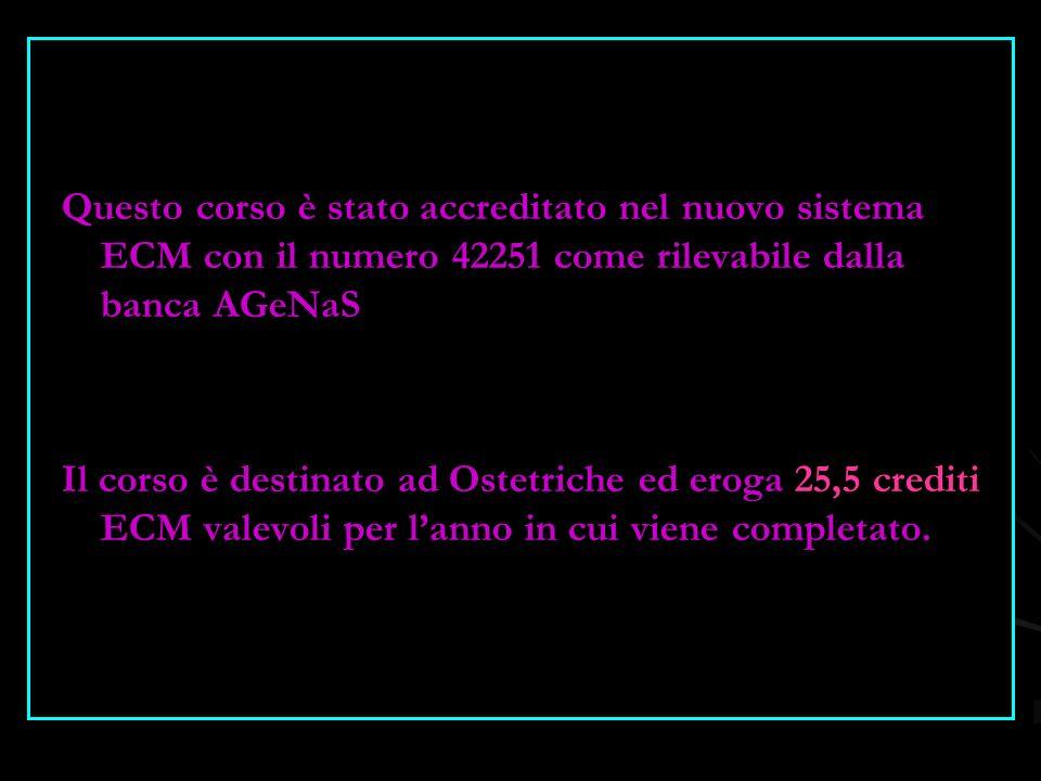 Questo corso è stato accreditato nel nuovo sistema ECM con il numero 42251 come rilevabile dalla banca AGeNaS Il corso è destinato ad Ostetriche ed eroga 25,5 crediti ECM valevoli per l'anno in cui viene completato.