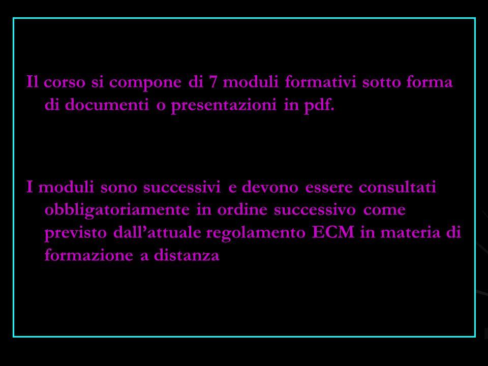 Il corso si compone di 7 moduli formativi sotto forma di documenti o presentazioni in pdf.