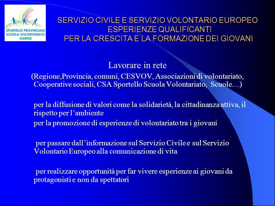 SERVIZIO CIVILE E SERVIZIO VOLONTARIO EUROPEO ESPERIENZE QUALIFICANTI PER LA CRESCITA E LA FORMAZIONE DEI GIOVANI