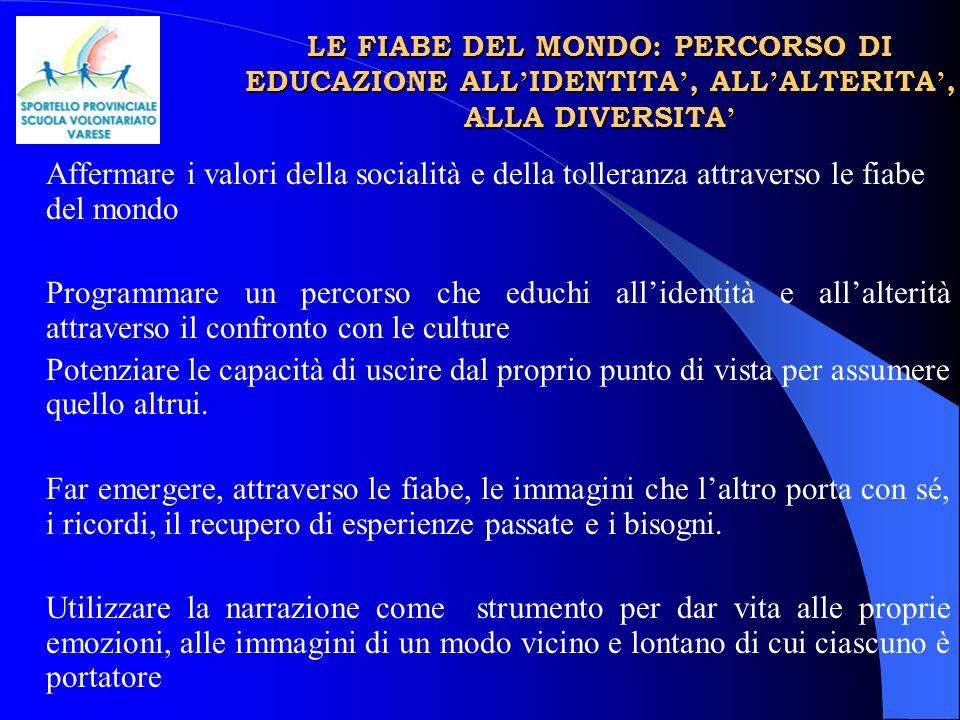 LE FIABE DEL MONDO: PERCORSO DI EDUCAZIONE ALL'IDENTITA', ALL'ALTERITA', ALLA DIVERSITA'