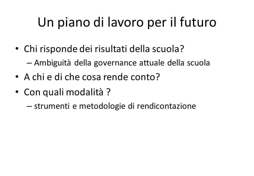 Un piano di lavoro per il futuro