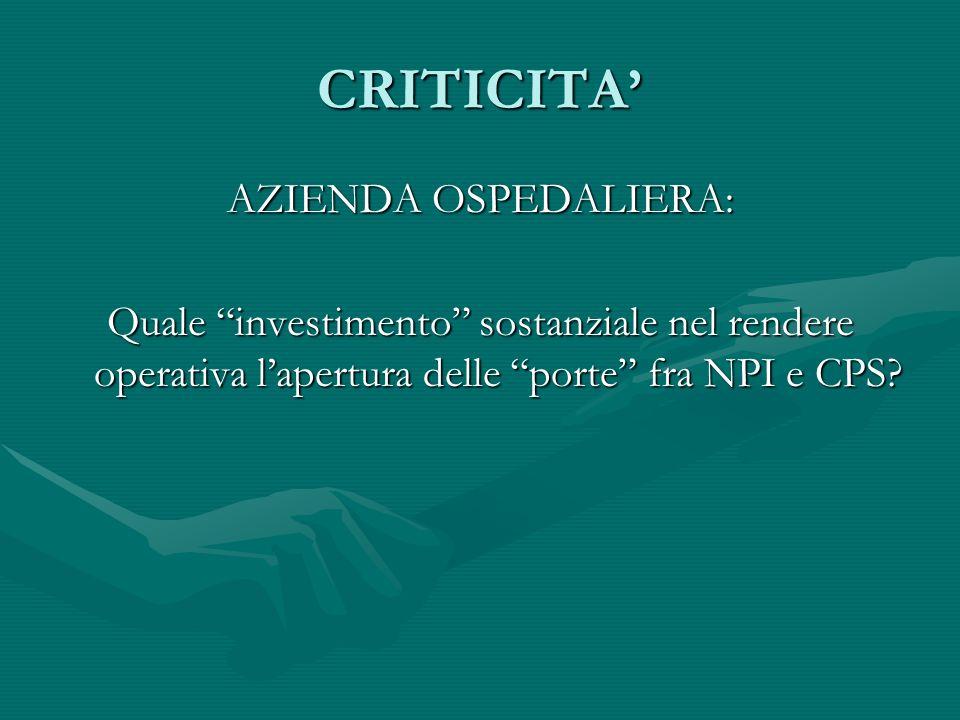 CRITICITA' AZIENDA OSPEDALIERA: