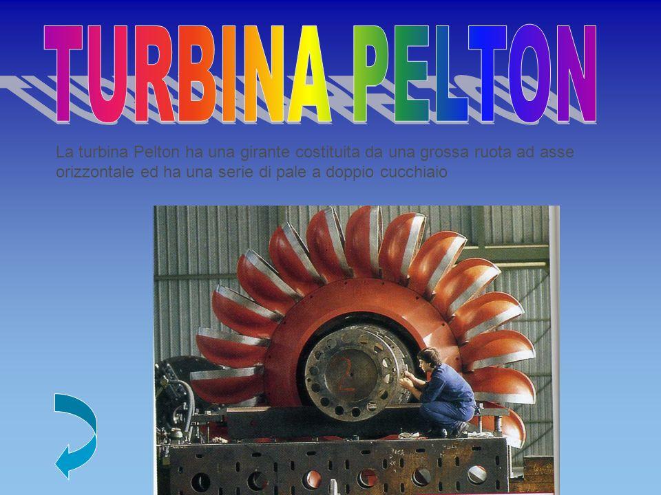 TURBINA PELTON La turbina Pelton ha una girante costituita da una grossa ruota ad asse orizzontale ed ha una serie di pale a doppio cucchiaio.