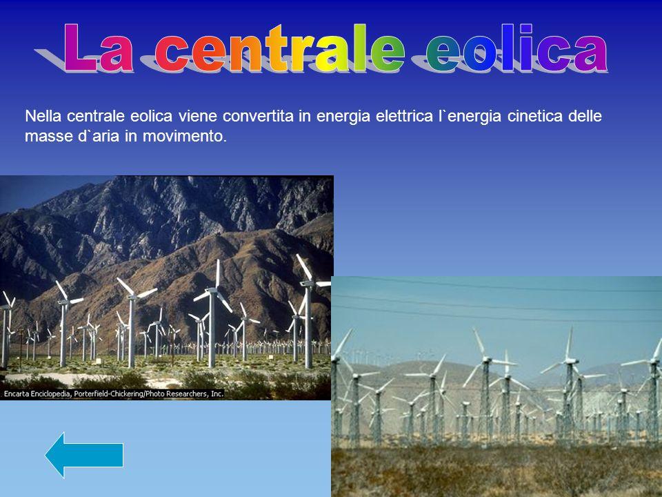 La centrale eolica Nella centrale eolica viene convertita in energia elettrica l`energia cinetica delle masse d`aria in movimento.