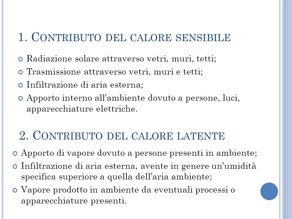 1. Contributo del calore sensibile