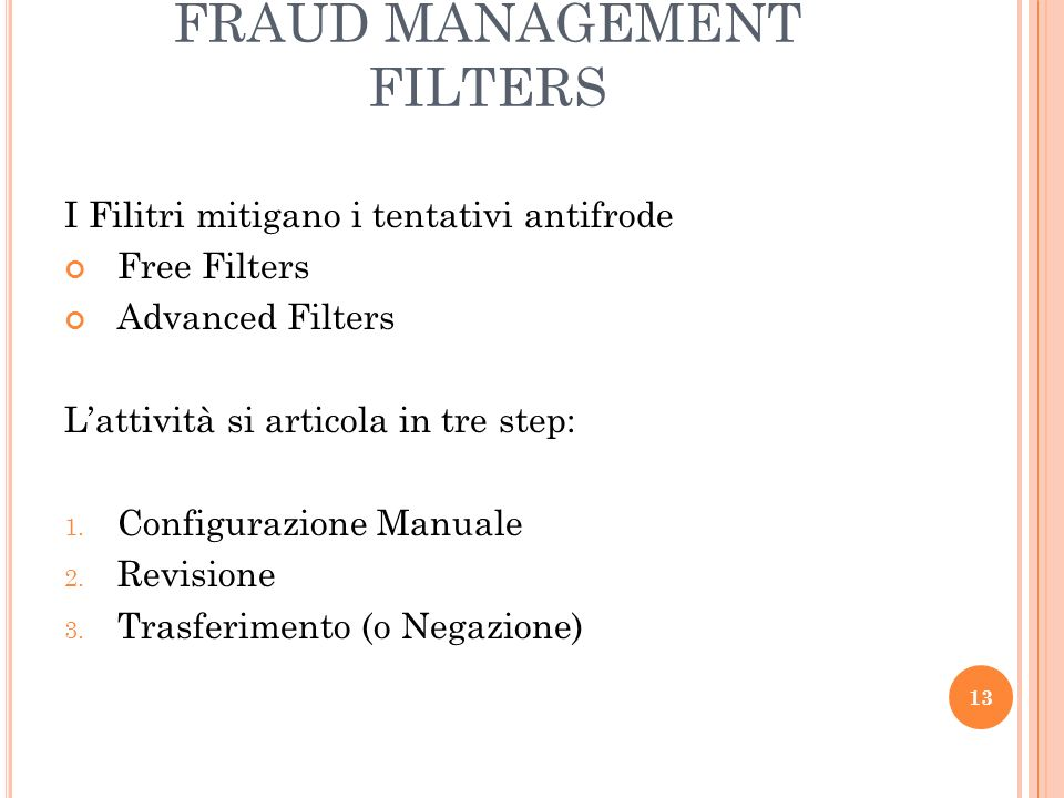 FRAUD MANAGEMENT FILTERS