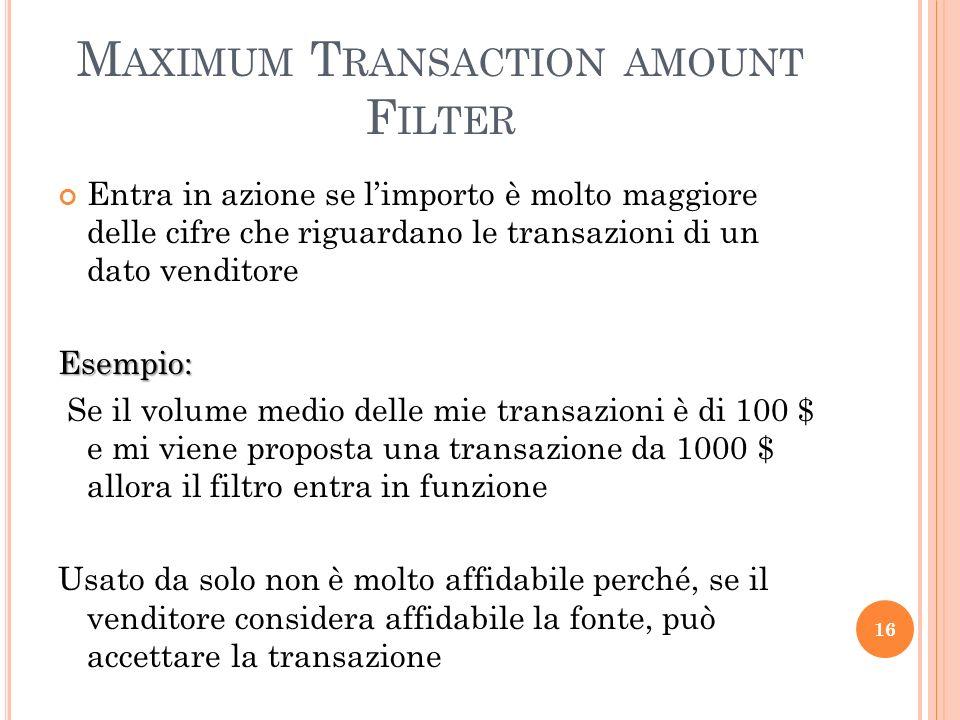 Maximum Transaction amount Filter