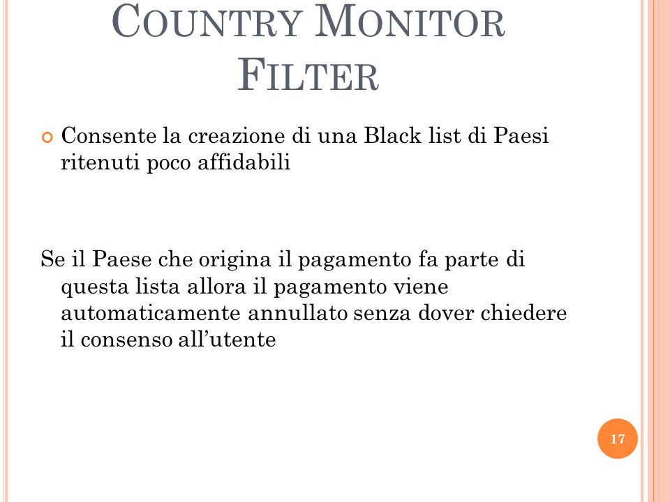 Country Monitor Filter