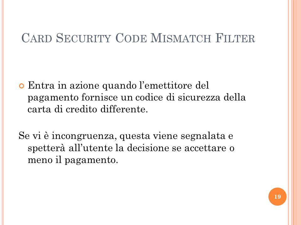 Card Security Code Mismatch Filter