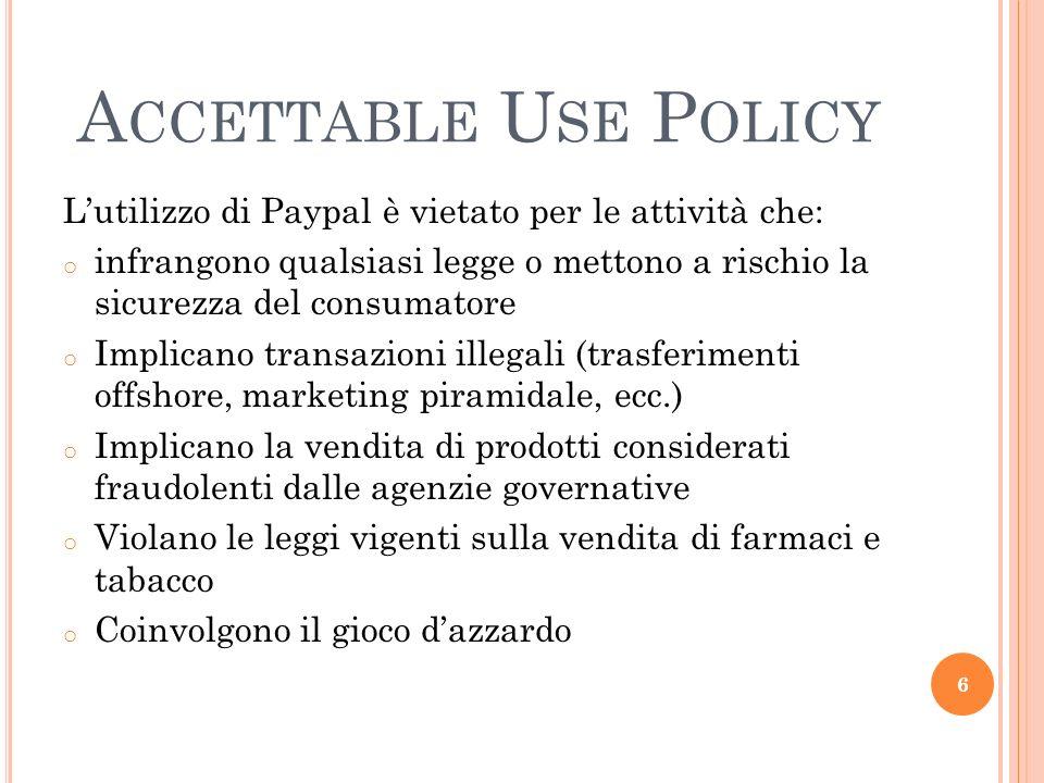 Accettable Use Policy L'utilizzo di Paypal è vietato per le attività che: