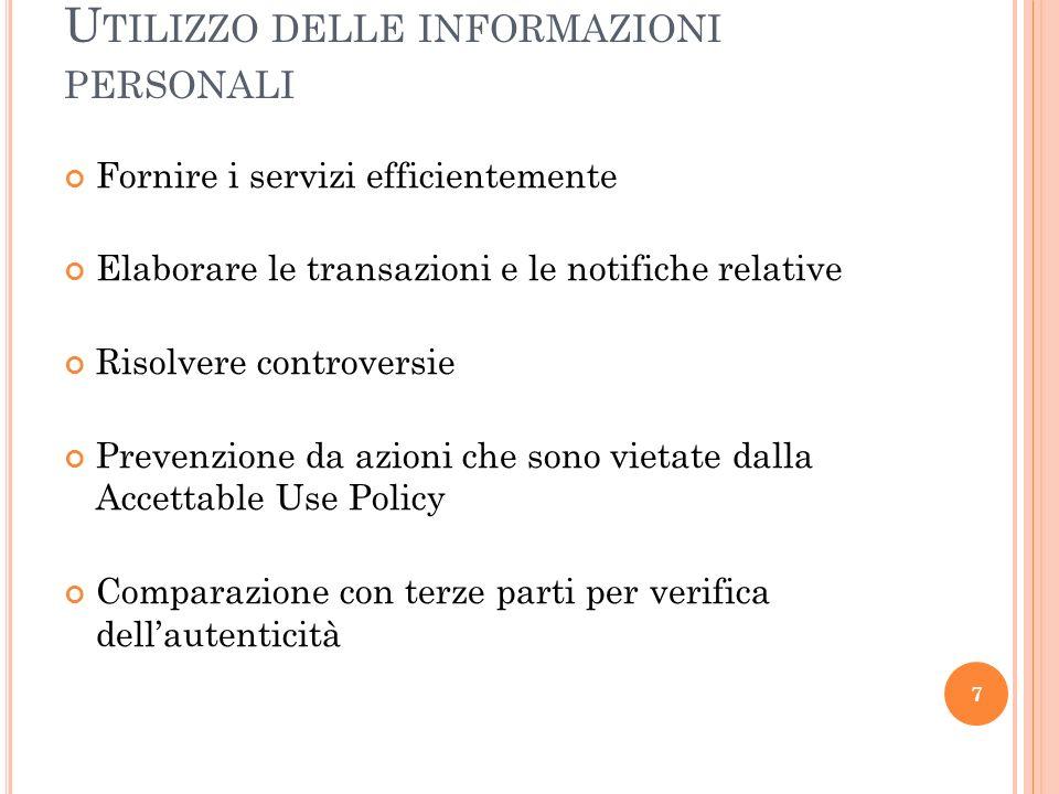 Utilizzo delle informazioni personali