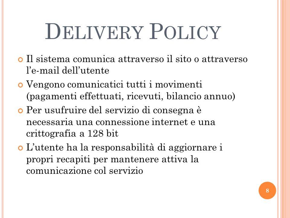 Delivery Policy Il sistema comunica attraverso il sito o attraverso l'e-mail dell'utente.