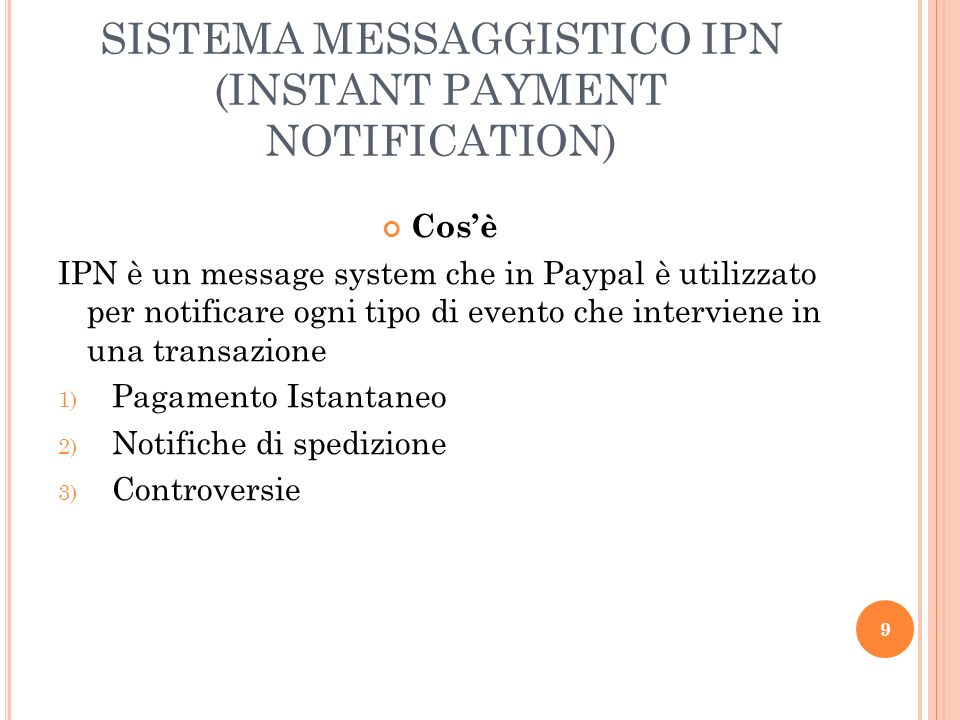 SISTEMA MESSAGGISTICO IPN (INSTANT PAYMENT NOTIFICATION)