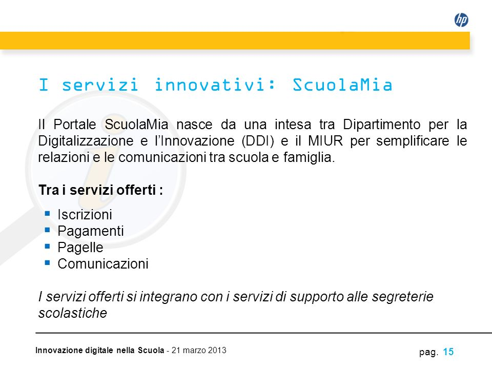 I servizi innovativi: ScuolaMia