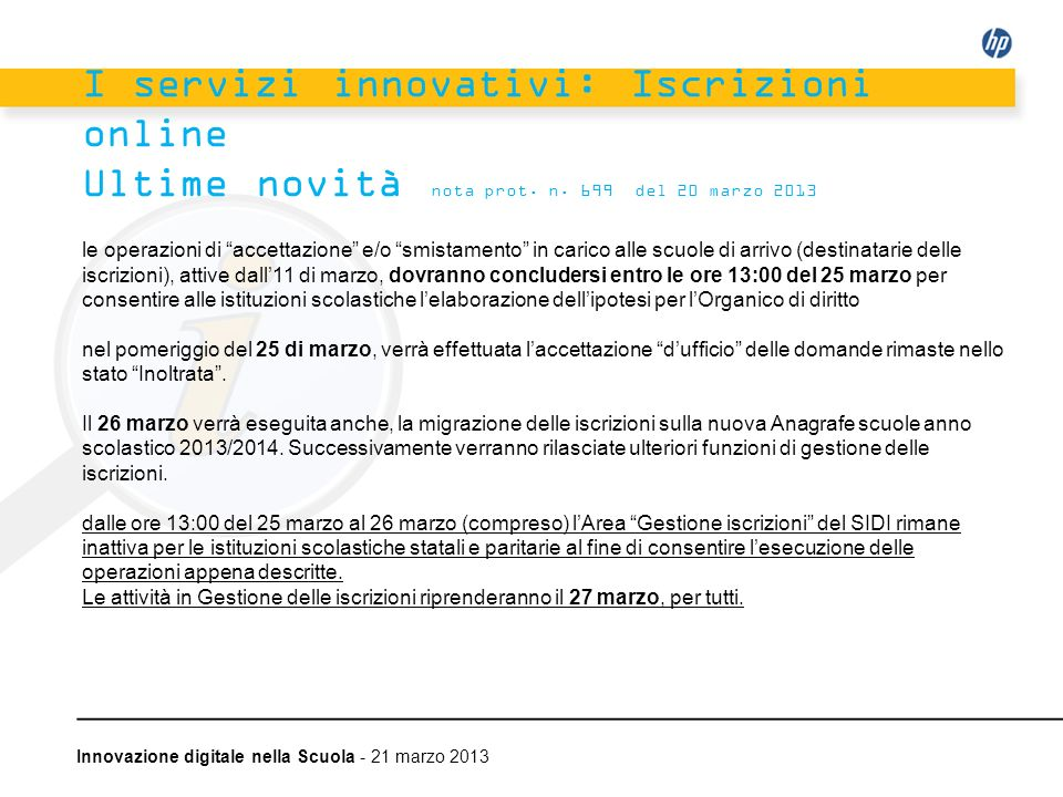 I servizi innovativi: Iscrizioni online