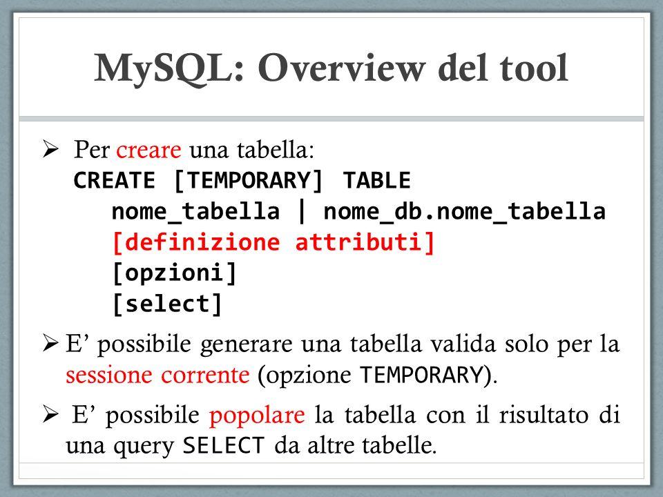 MySQL: Overview del tool