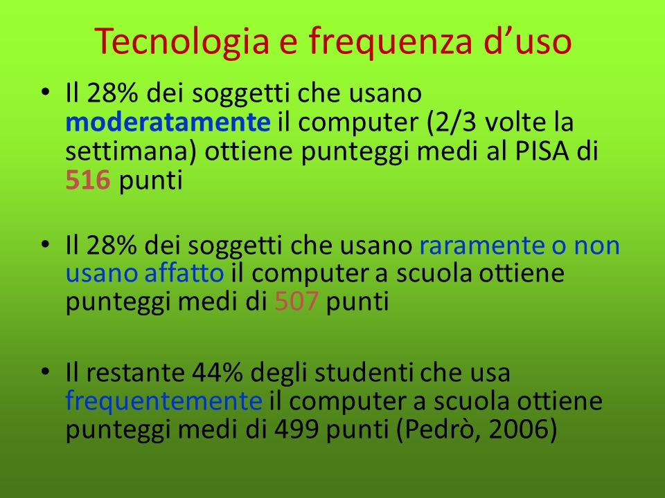 Tecnologia e frequenza d'uso