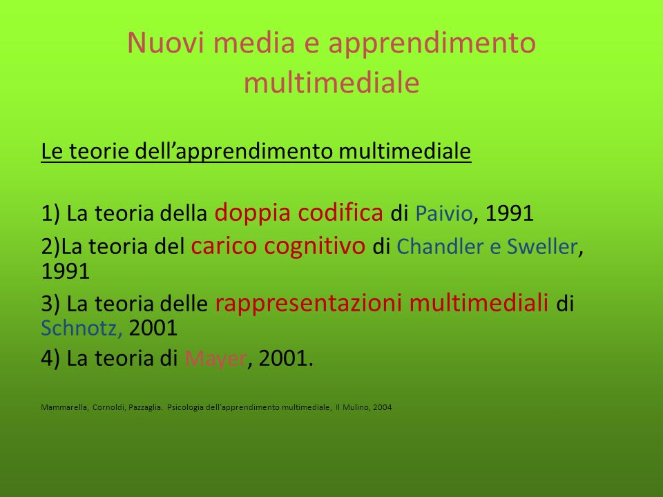 Nuovi media e apprendimento multimediale