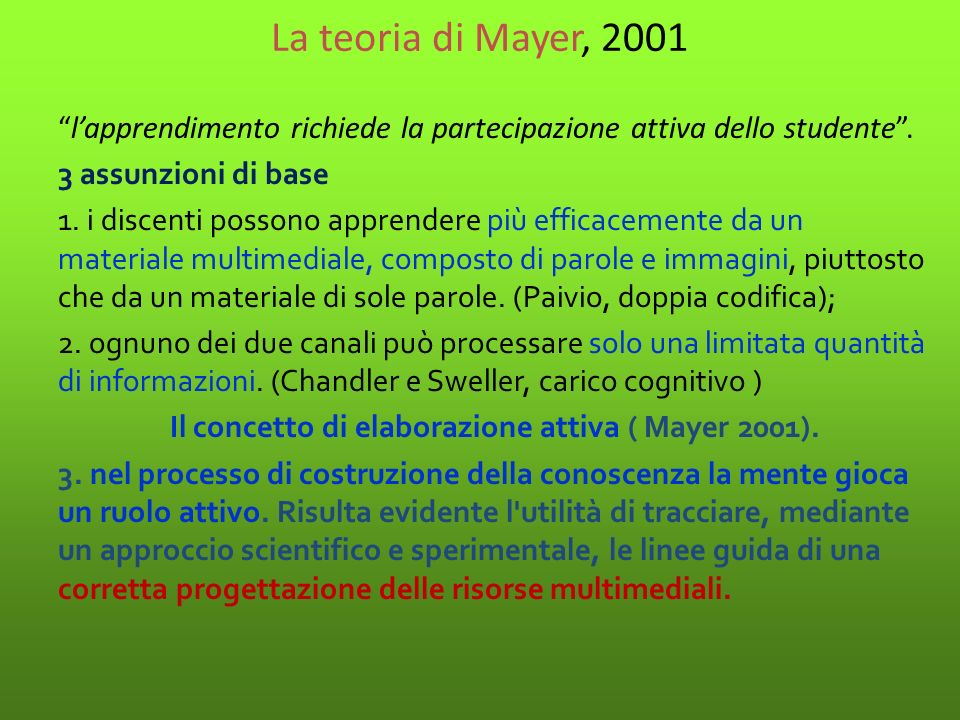 La teoria di Mayer, 2001