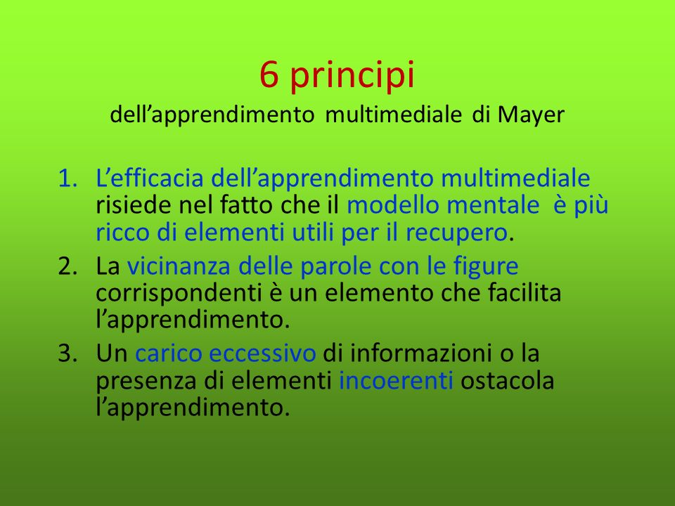 6 principi dell'apprendimento multimediale di Mayer