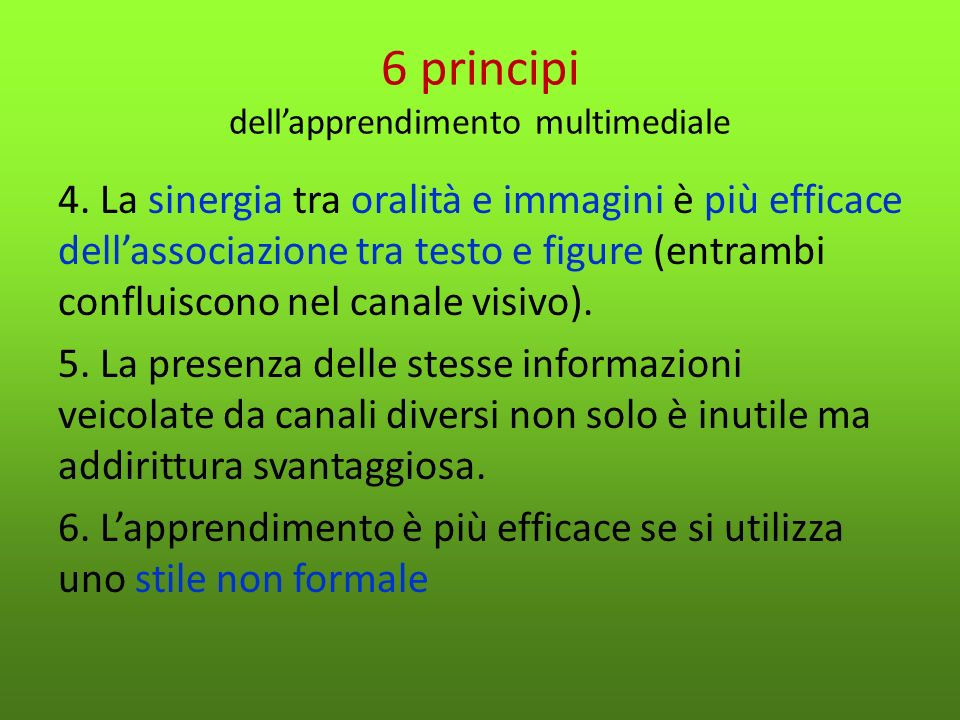 6 principi dell'apprendimento multimediale